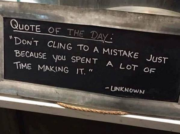 cling to mistake